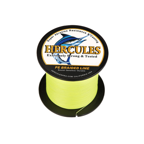 300M 328Yds Fluorescent Yellow 6lb-100lb Hercules PE Braid Fishing Line 4 Strands