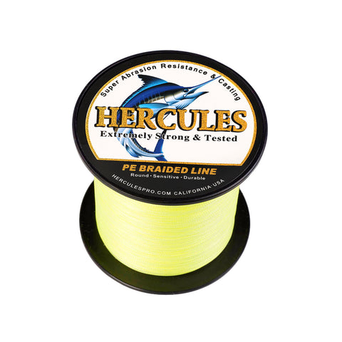 500M 547Yds Fluorescent Yellow 6lb-100lb Hercules PE Braided Fishing Line 4 Strands