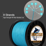 2000M 2187Yds Orange 10lb-200lb Hercules PE Braided Fishing Line 8 Strands