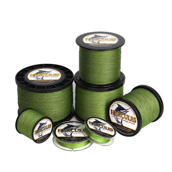 2000M 2187Yds Army Green 6lb-100lb Hercules PE Braid Fishing Line 4 Strands