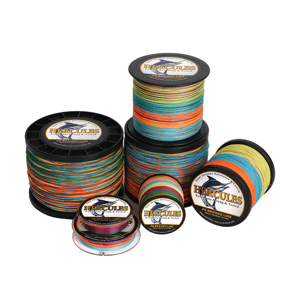 2000M 2187Yds Multicolor 6lb-100lb Hercules PE Braided Fishing Line 4 Strands