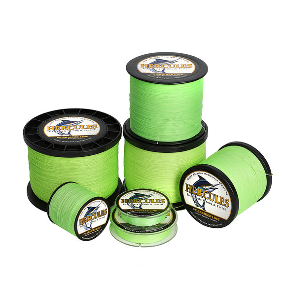 2000M 2187Yds Fluorescent Green 6lb-100lb Hercules PE Braided Fishing Line 4 Strands