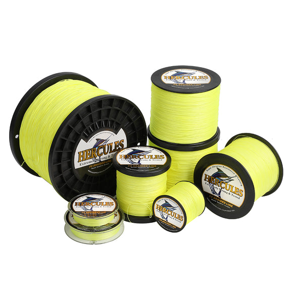 1000M 1094Yds Fluorescent Yellow 10lb-300lb 8 Strands Hercules PE Dynamee Braided Fishing Line