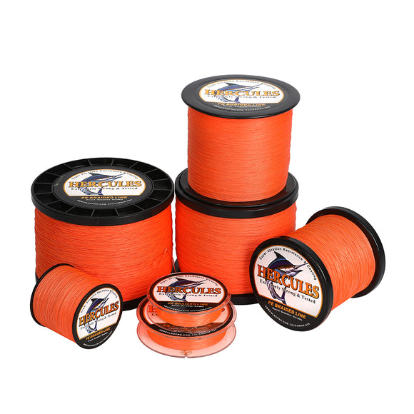 2000M 2187Yds Orange 6lb-100lb Hercules PE Braid Fishing Line 4 Strands