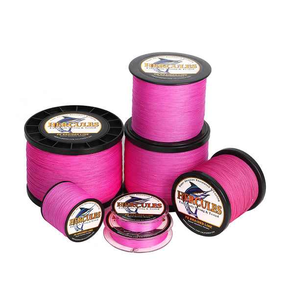 2000M 2187Yds Pink 6lb-100lb Hercules PE Braided Fishing Line 4 Strands