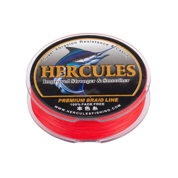 [HERCULES] No Fade Fishing Line Red 6LB-100LB 100m 150m 200m 300m 500m 1000m Super Strong Fishing Line 4 Strands Dyneema Braided Multifilament PE Braided Fishing Line