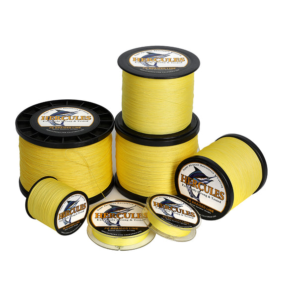 2000M 2187Yds Yellow 6lb-100lb Hercules PE Braid Fishing Line 4 Strands