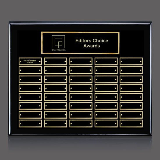 Oakleigh Horiz Pert/Plaque - Black/Gold 40 Plate