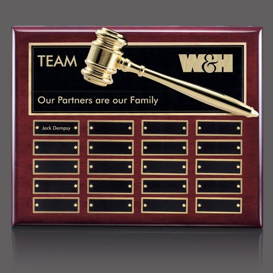 Gavel Perpetual Plaque - Rosewood 20 Plate