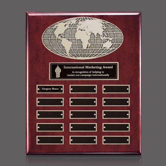 World Perpetual Plaque (Vert) - Rosewood 15 Plate