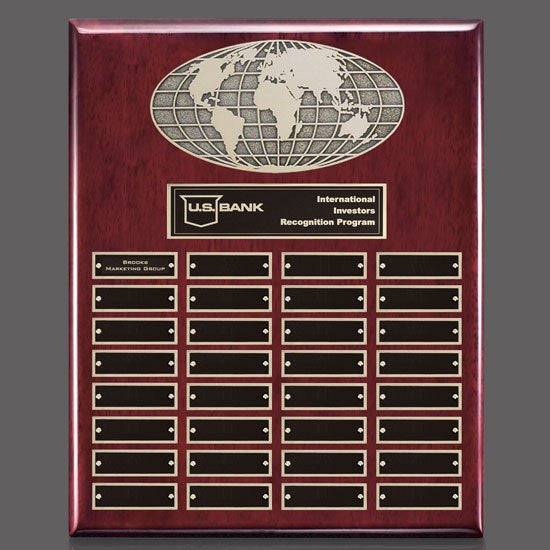 World Perpetual Plaque (Vert) - Rosewood 32 Plate