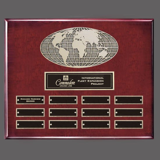 World Perpetual Plaque (Horiz) - Rosewood 12 Plate