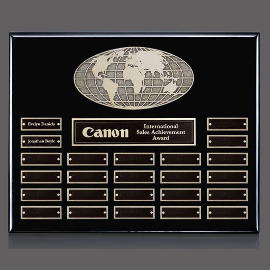 World Perpetual Plaque (Horiz) - Black 24 Plate