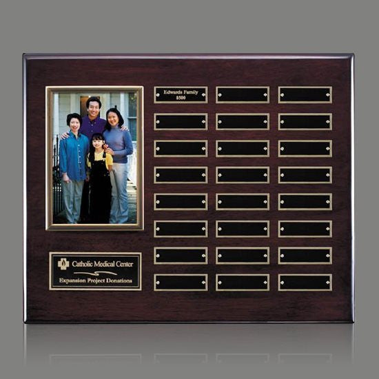 Photo (Vert) P/Plaque - Rosewood/Gold 24 Plate