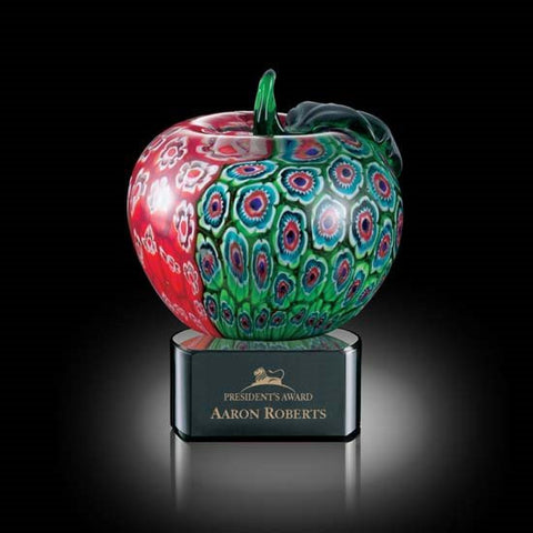 "Arcadia Apple on Black Base - 5 1/2"" High"