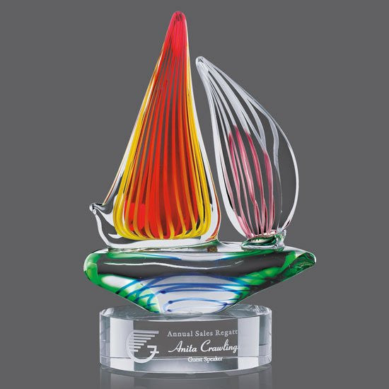 Valdez Sailboat Award on Clear Base - 11 1/2""