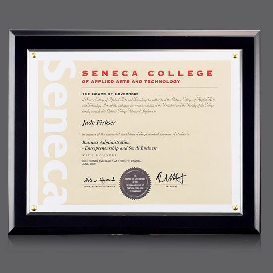 "Walcourt Cert Holder - Black/PlexiGlass 8 1/2""x11"""
