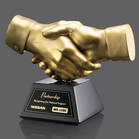 "Shaking Hands Award - Gold Resin 6 1/2"" Wide"
