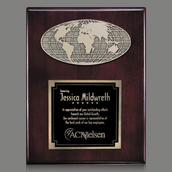 "World Plaque - Rosewood 9""x12"""