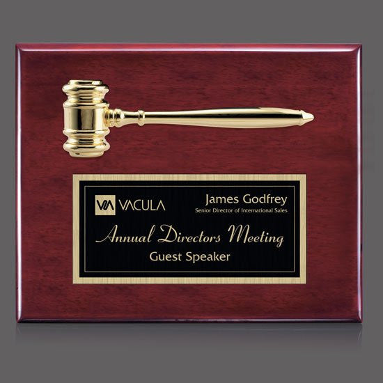 "Gavel Plaque - Rosewood 10 1/2""x13"""