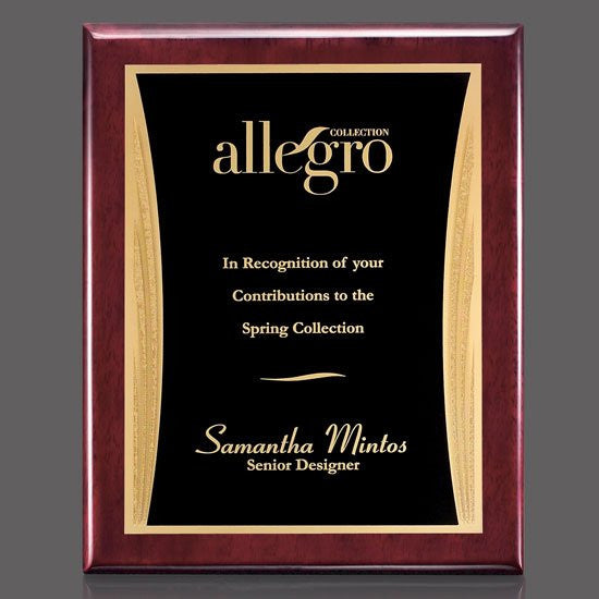 "Oakleigh/Showtime Plaque - Rosewood/Black 8""x10"""
