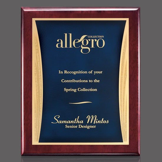 "Oakleigh/Showtime Plaque - Rosewood/Blue 8""x10"""
