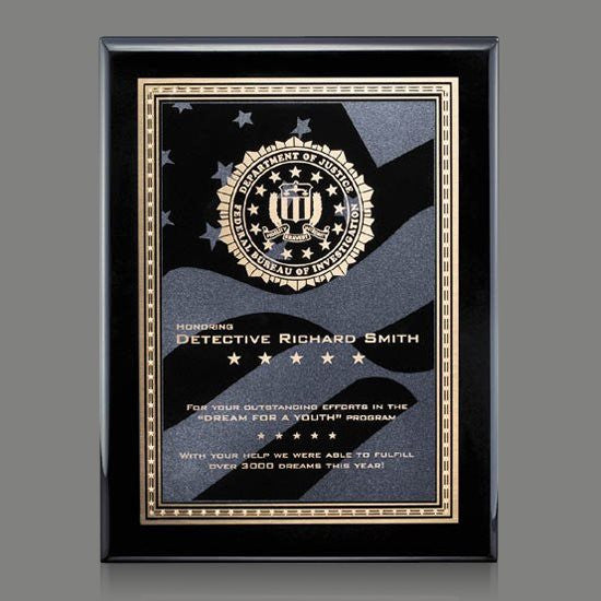"Oakleigh/Star&Stripes Plaque - Black 8""x10"""