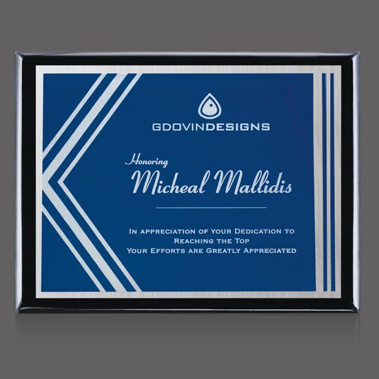 "Oakleigh/Gemini Plaque - Black/Blue 9""x12"""