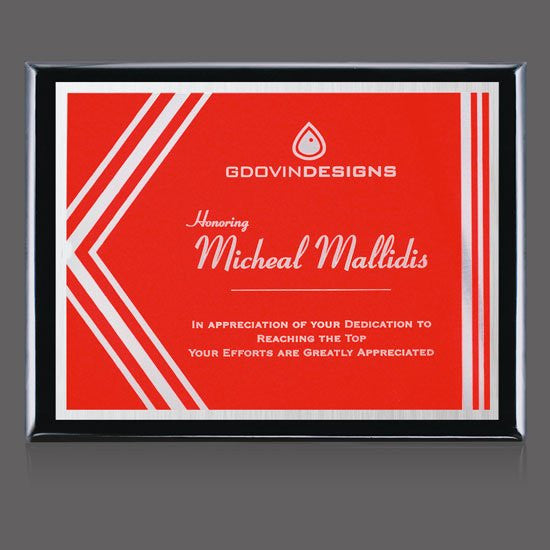 "Oakleigh/Gemini Plaque - Black/Red 10 1/2""x13"""
