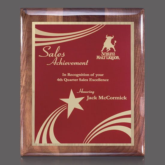 "Carisbrooke/Marietta Plaque - HG Walnut/Red 9""x12"""
