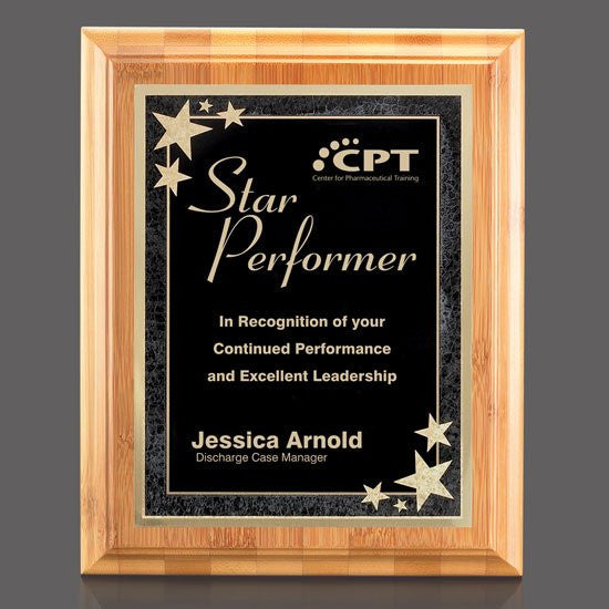"Bamboo/Starburst Plaque - Bamboo/Black 7""x9"""