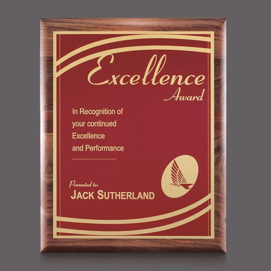 "Sedgewick/Marietta Plaque - Walnut/Red 7""x9"""