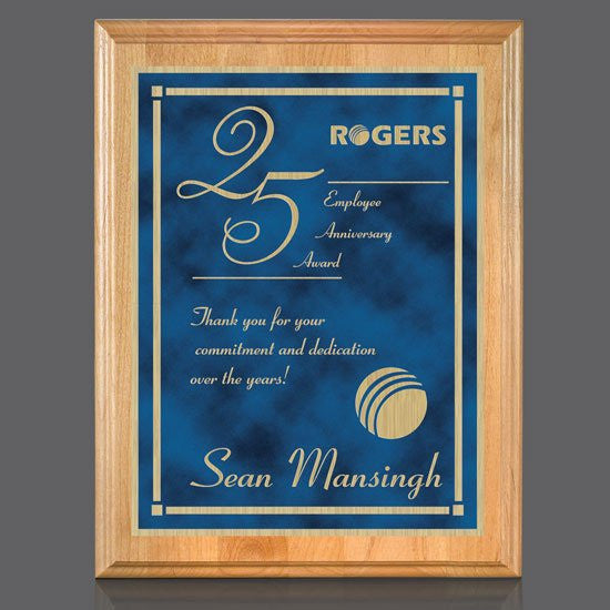 "Erindale/Contempo Plaque - Red Alder/Blue 8""x10"""