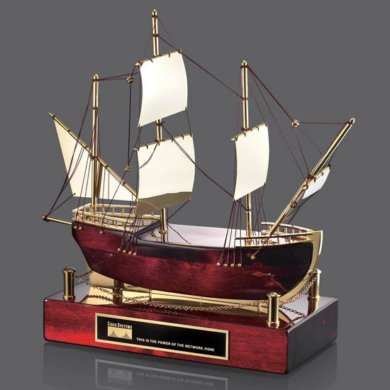 Maritime Sailboat - Rosewood/Gold 12 1/2""
