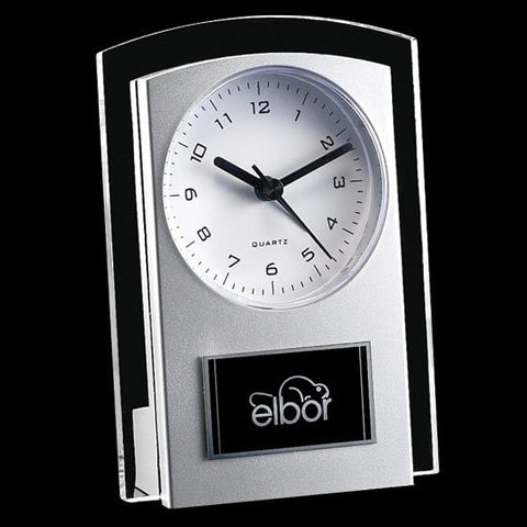 Mallory Clock - Silver/Clear 5 1/2""