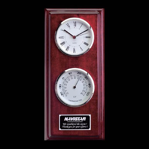 Simmons Clock/Thermo - Rosewood/Chrome