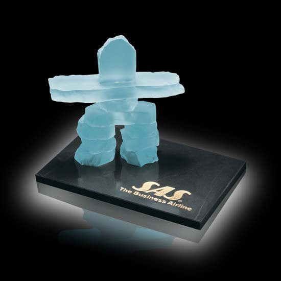 Inukshuk on Marble - Frosted 7 1/2""