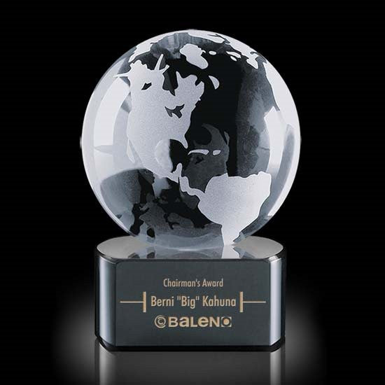 "Globe on Paragon Black Base - 4"" Diam"