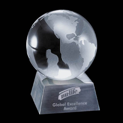 "Globe on Aluminum Base - 4"" Diam"