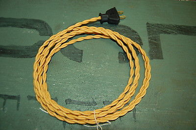 Super Gold Twisted Cloth Covered Wire Vintage Rewire Kit Lamp Cord Fan 8Ft Wiring Cloud Hisonuggs Outletorg