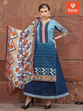 SC 127002 Blue and Multicolor Printed Cambric Designer Suit