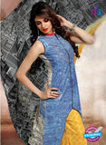NS10656 B Sky Blue and Yellow Lawn Cotton Designer Suit