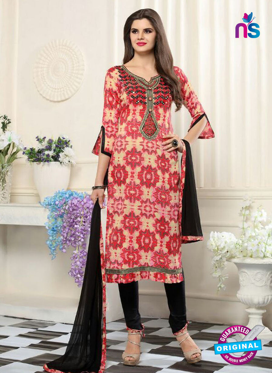 SC 13549 Beige, Red and Black Designer Fancy Traditional Semi-stitched Straight Suit