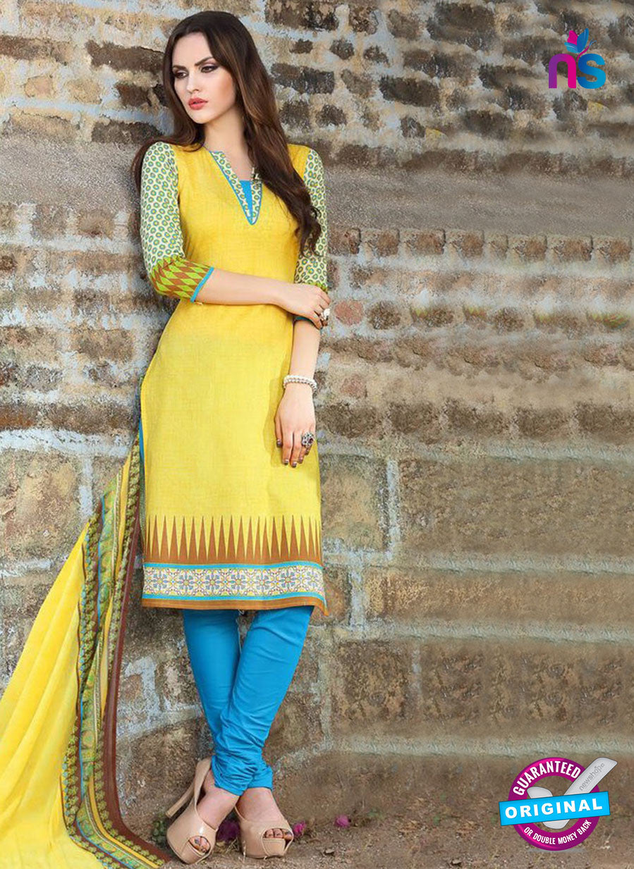 SC 12969 Yellow and Blue Printed Pure Cotton Salwar Suit