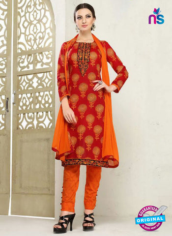 SC 12289 Red and Orange Elegant Embroidered with Printed Pure Cotton Suit