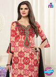 SC 13549 Beige, Red and Black Designer Fancy Traditional Semi-stitched Straight Suit Online
