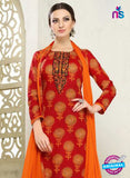 SC 12289 Red and Orange Elegant Embroidered with Printed Pure Cotton Suit Online