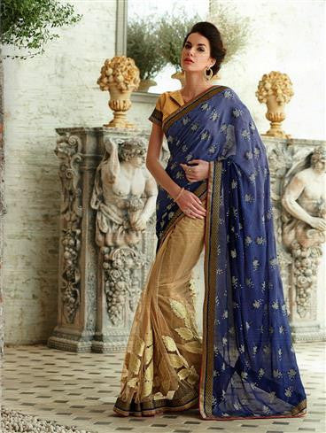 NS11734 Burlywood and MidnightBlue Wedding Wear Crape, Georgette, Net Saree