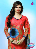 NS10657 A Red and Sky Blue Lawn Cotton Designer Suit