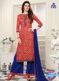 SC 13547 Red and Blue Designer Fancy Traditional Semi-stitched Straight Suit